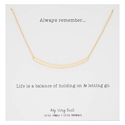 My Very Best Simple Curved Bar Necklace (Gold Plated Brass) ()