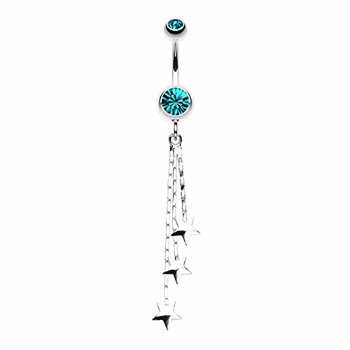 Covet Jewelry Triple Falling Star Belly Button Ring (14 GA, Length: 10mm, Teal)
