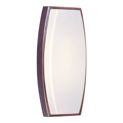 Maxim 54346WTOI Beam EE 1-Light Wall Sconce, Oil Rubbed Bronze Finish, White Glass, 2G11 Twin T5 CFL Fluorescent Bulb , 6W Max., Wet Safety Rating, 3000K Color Temp, Acrylic Shade Material, 840 Rated Lumens