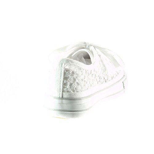 Angkorly - Chaussure Mode Baskets femme dentelle pailettes Talon plat 2 CM - Blanc
