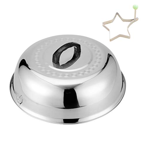 """ZHOUWHJJ BBQ Stainless Steel 12"""" Round Basting Cover/Cheese Melting Dome and Steaming Cover, Best for Flat Top Griddle Grill and Other Grills, Smokers"""