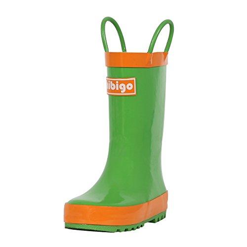 hibigo Children's Natural Rubber Rain Boots with Handles Easy for Little Kids & Toddler Boys Girls, Green Mix Orange ()