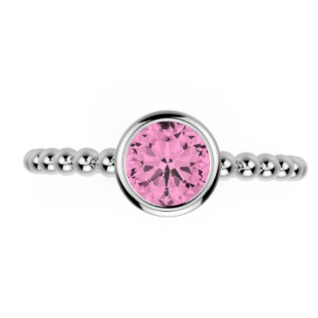 DOLLY Bagues Argent Tourmaline Rose 0,8 Rond