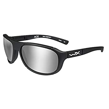 Image of Backpack Accessories Wiley X ACACE06 Ace Sunglasses Polarized Silver Flash Lens Matte, Black