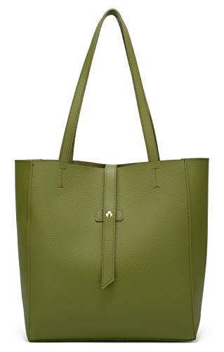(Dreubea Women's Large Tote Shoulder Handbag Soft Leather Satchel Bag Hobo Purse Army Green)