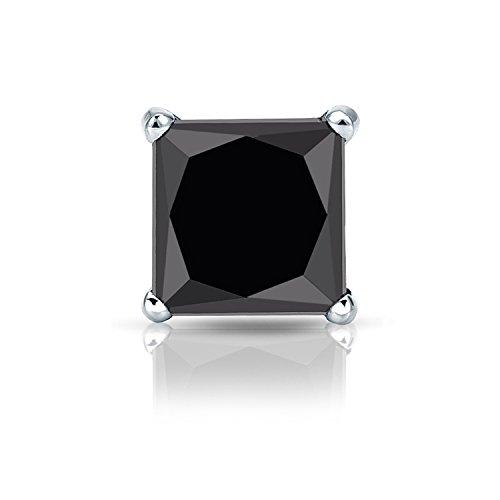 14k White Gold 4-Prong Martini Princess Black Diamond SINGLE STUD Earring (2 ct, Black) ()
