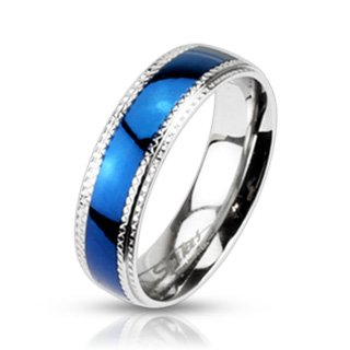Stainless Steel Blue IP Checkered Edge Band Ring - Width: 6mm - Sizes: 5-12, 9 Checkered Band Ring