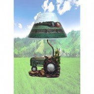 Farm Scene Green Tractor - Green Farm Tractor Table Lamp with Barnyard Scene Shade