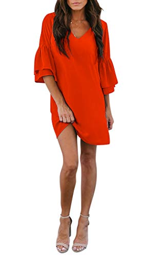 BELONGSCI Women's Dress Sweet & Cute V-Neck Bell Sleeve Shift Dress Mini Dress (Orange, XS) -
