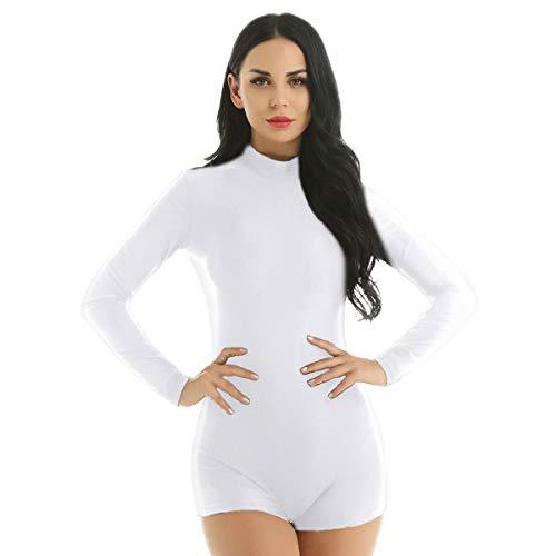 Agoky Women's Mock Neck Long Sleeve Gymnastics Leotard Ballet Dance Shorts Biketard Bodysuit White Medium