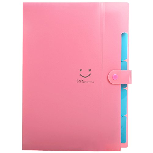 Skydue Letter A4 Paper Expanding File Folder Pockets Accordion Document Organizer (Fuchsia)
