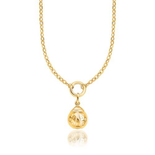 14K Yellow Gold Lady Bug Drop Pendant Necklace (Ladybug Yellow 14k Gold)