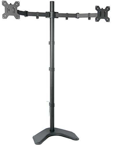 "VIVO Dual Monitor Free-Standing Stand up Desk Mount Extra Tall 40"" Pole Height Adjustable / Fits up to 27"" Screens (STAND-V012F)"