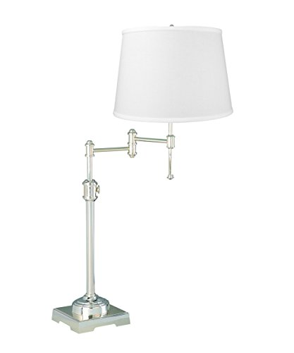 State Street Swing Arm Table Lamp Shiny Silver by Laura Ashley