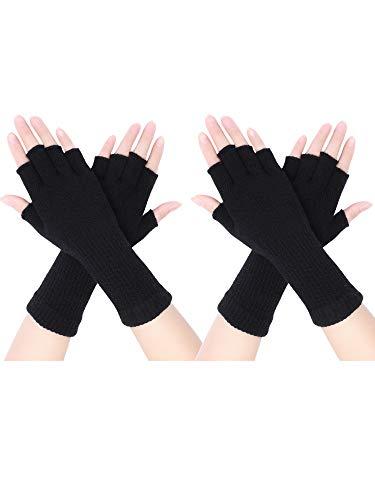 Pangda 2 Pairs Unisex Fingerless Gloves Half Finger Stretchy Knit Gloves Lengthen Wrist Mittens Winter Warm Gloves (Black)