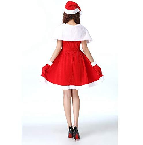 Neve Adulto Velluto Abbigliamento Shisky Natale punto Cinque Abito adulto Oro Strass Sexy Manica Di Fiocco Scialle Natalizio, Set pwadxqa0O