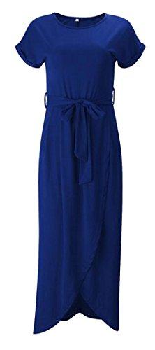 Dark Blue Belt Womens Dress Maxi Cromoncent Sleeve Casual Crewneck Short Irregular 6fxqTAz