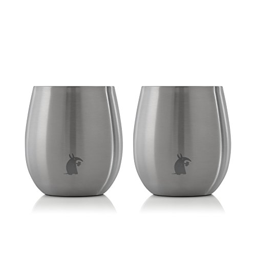 Thirsty Aardvark 8oz Chilled Wine and Cocktail Tumbler, Stainless Steel Double Wall Vacuum Insulated Silver Cup, 2 pack