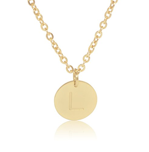 "18K Gold-Plated Round Disc Engraved Initial Pendant 18"" Adjustable Necklace with Personalized Alphabet Letter (L)"