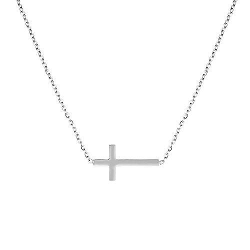 Pusheng Women Sideways Horizontal Cross Pendant Necklace Stainless Steel Petite Necklace,16