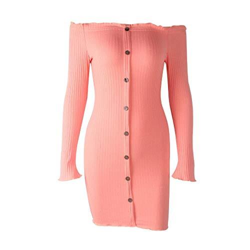 Lunga Con Manica Dal Pagacat Spalle Sottile Bottone Mini Scoperte Vestiti Rosa Vestito A eWrCdBox