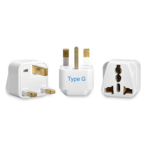 Ceptics UK, Hong Kong, Ireland, UAE Travel Plug Adapter (Type G) - 3 Pack [Grounded & Universal] (GP-7-3PK)