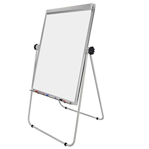 """F2C 40"""" x 28"""" Double-Sided Magnetic Whiteboard 360 Degree Rotating Height Adjustable Dry Erase Board Freestanding Easel Board w/ 3 Markers, Eraser, Flipchart Paper Pad, 6 ()"""