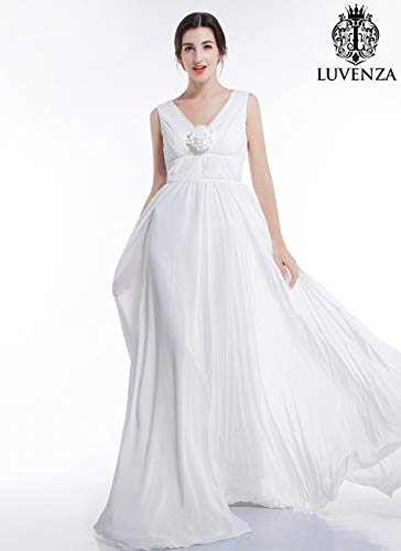 White Chiffon Maxi Length Wedding Dress with 3D Floral Accent and V Neck Pleated Bodice