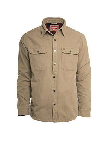 Coleman Fleece Lined Washed Canvas Shirt Jackets for Men (Large, Driftwood)