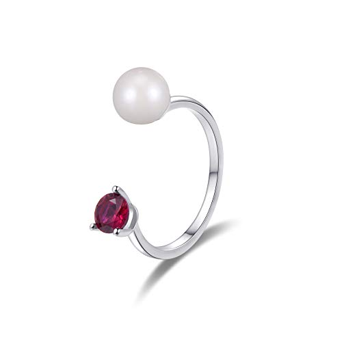 - A & B Freshwater Pearl Open Ring with Synthetic Ruby Red in Sterling Silver Ring.