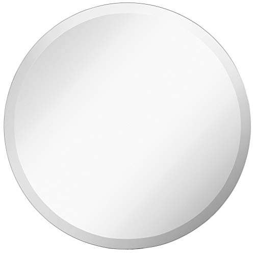 (Large Simple Round 1 Inch Beveled Circle Wall Mirror | Frameless 24 Inch Diameter Circular Mirror With a Silver Backed Rounded Mirrored Glass Panel | Best for Vanity, Bedroom, or Bathroom (24