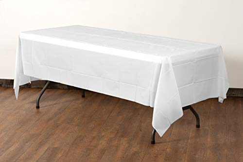 Exquisite 12-Pack Premium Plastic Tablecloth 54 Inch. x 108 Inch. Rectangle Table Cover-White - Premium quality protection: This 12 pack of 54 in. X 108 in. Rectangle White plastic tablecloths will cover any table up to 8 feet. Unlike your typical paper Table clothes these disposable table covers for parties are spill and waterproof! ! ! High opacity: covers any Table with minimal transparency. Great plastic Tablecloth For parties, weddings, holiday party, birthday parties, Christmas, thanksgiving dinner, BBQ, and any other color themed event. Disposable: disposable works! When the party is over, cleanup is easy - just Roll up the disposable tablecloth and dispose of it. - tablecloths, kitchen-dining-room-table-linens, kitchen-dining-room - 31Z9qCE%2BrtL -