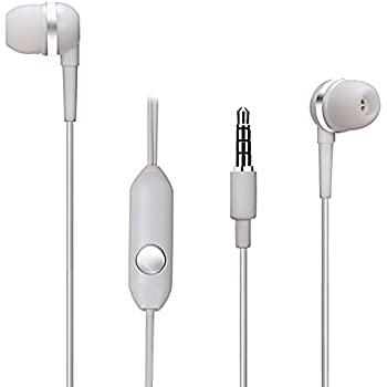 AUDIST SX-3511 Earphones with Inline Universal Microphone and 1-Button Call for all Apple, Android and MP3 Devices – White