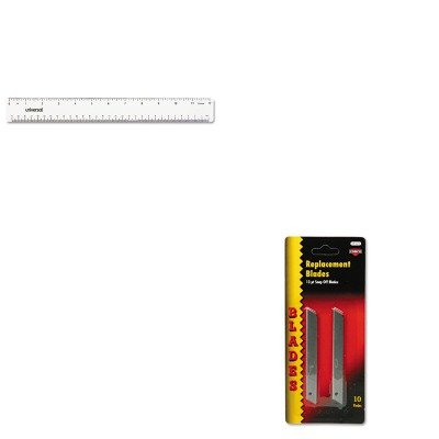 Quickpoint Snap Off Straight Handle (KITCOS091473UNV59022 - Value Kit - Cosco QuickPoint Snap-Off Straight Handle Retractable Knife Replacement Blade (COS091473) and Universal Acrylic Plastic Ruler (UNV59022))