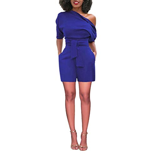 TOTOD Women's Jumpsuits,Sexy Solid Off Shoulder Short Sleeve with Belt High Waisted Slim Short Playsuits Blue