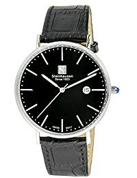 Steinhausen Men's S0519 Classic Burgdorf Swiss Quartz Stainless Steel Watch With Black Leather Band (Swiss Mens Classic)