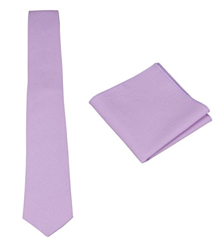 Mens Solid Linen Tie with Pocket Square Set