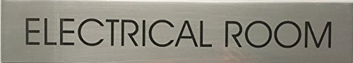 ELECTRICAL ROOM SIGN - Delicato line (BRUSHED ALUMINUM,2x11.75)