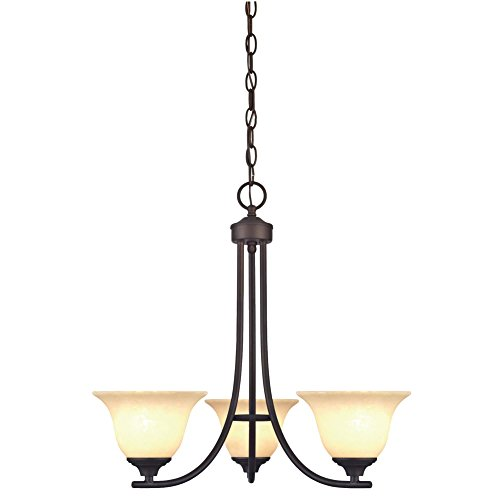 Westinghouse 6221500 Kings Canyon Three-Light Interior Chandelier, Oil Rubbed Bronze Finish with Burnt Scavo Glass For Sale