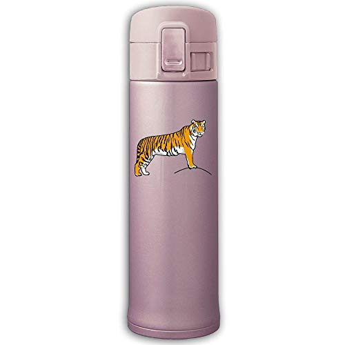 Stainless Steel Insulation Cup Tiger Clip Art Sports Drinking Bottle With Bounce Cover Pink