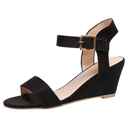 MILIMIEYIK Slip-On Sandals Men, Womens Platform Espadrille Wedges Peep Toe High Heel Sandals with Ankle Strap Buckle Up Black ()