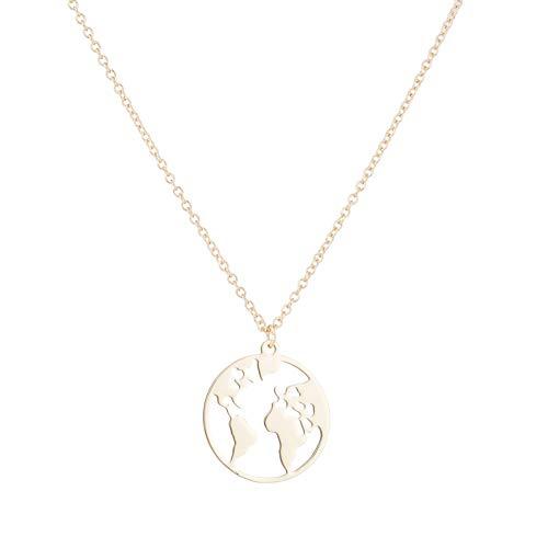 Globe World Map Necklace Earth Day Gift for Best Friends Wanderlust Pendants Long Distance Relationship Gifts for Boyfriend Girlfriend (World Globe Necklace)