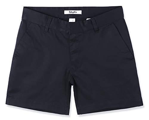 Estepoba Women's Juniors Premium Comfy Stretch Fitted Mid-Rise Chino Walk Short Navy Blue 29