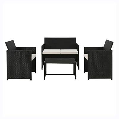 HEATAPPLY Outdoor Furniture Set, 4 Piece Garden Lounge with Cushions Set Poly Rattan Black