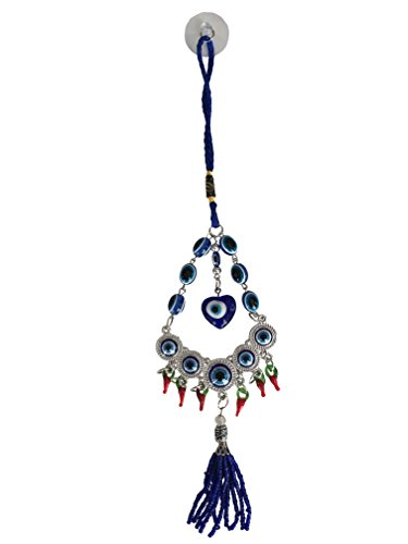 - Blue Evil Eye Wall Hanging Ornament with Hot Red Peppers for Protection and Blessing, Amulet Decoration for Car, Home and Office, Great Gift