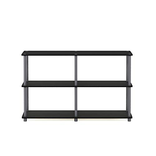 Furinno 99634 BK/GY Turn-N-Tube 3-Tier Double Size Storage Display Rack, Black/Grey (Small Tv Unit Black)