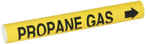 "Brady 4114-B Bradysnap-On Pipe Marker, B-915, Black On Yellow Coiled Printed Plastic Sheet, Legend ""Propane Gas"""