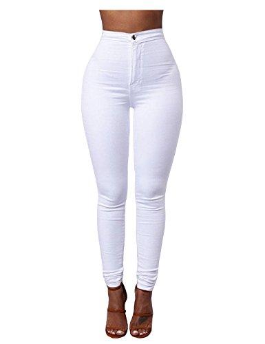 taille skinny Jueshanzj jeans haute couleur Femme Pantalon crayon Blanc jeans de bonbon OfOxTE7