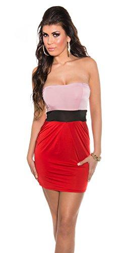 In Style Damen Bandeau Minikleid Mini Tube Kleid Bicolor gepolstert ...