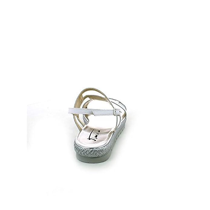 Scarpe E Borse Da Donna Sandali Fiocco - Sandalo Bianco Argento Con Rete Strass